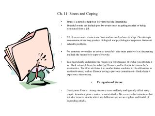 Ch. 11: Stress and Coping