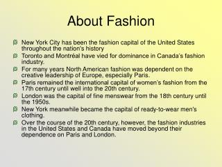 About Fashion