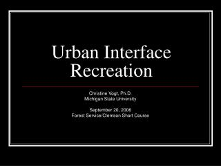 Urban Interface Recreation