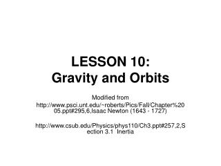 LESSON 10:  Gravity and Orbits