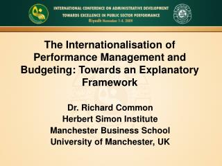 The Internationalisation of Performance Management and Budgeting: Towards an Explanatory Framework