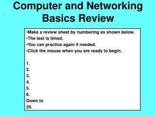 Computer and Networking Basics Review