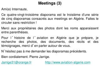 Meetings (3) Ami(e) Internaute,