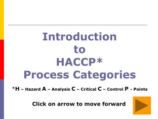 Introduction  to  HACCP* Process Categories