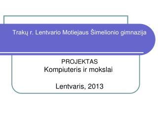 Projekto vadovė Informacini ų  technologij ų mokytoja L.Vasiliauskienė Projektą vykdė