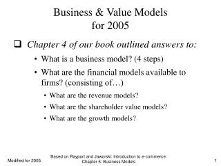 Business & Value Models for 2005