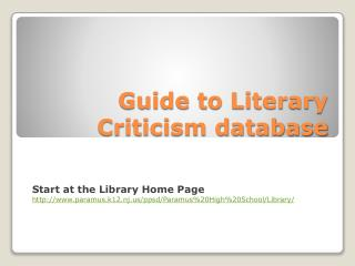 Guide to Literary Criticism database
