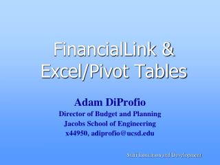 FinancialLink & Excel/Pivot Tables