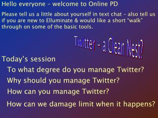 Hello everyone – welcome to Online PD