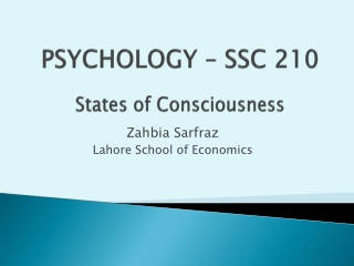 LECTURE 5  DRUGS AND ALTERED CONSCIOUSNESS