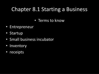 Chapter 8.1 Starting a Business