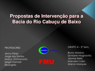 Propostas de Intervenção para a Bacia do Rio  Cabuçu  de Baixo