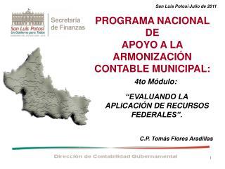 PROGRAMA NACIONAL DE APOYO A LA ARMONIZACIÓN CONTABLE MUNICIPAL: