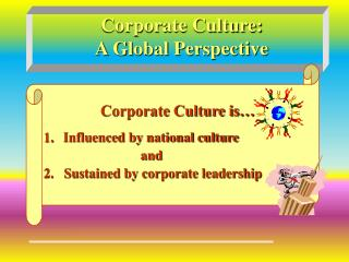 Corporate Culture:  A Global Perspective