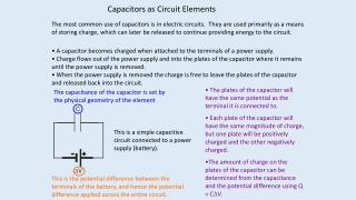 Capacitors as Circuit Elements