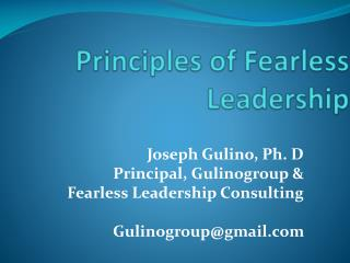 Principles of  Fearless Leadership