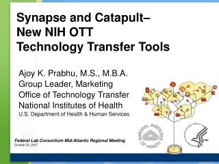 Synapse and Catapult– New NIH OTT Technology Transfer Tools