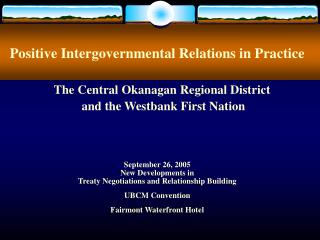 Positive Intergovernmental Relations in Practice