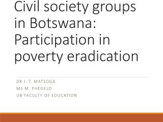Civil society groups in Botswana: Participation in poverty eradication