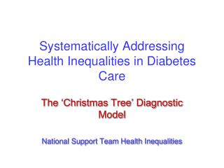 Systematically Addressing Health Inequalities in Diabetes Care