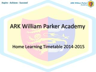 Home Learning Timetable 2014-2015