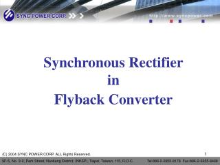 Synchronous Rectifier in Flyback Converter