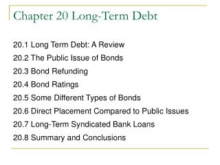 Chapter 20 Long-Term Debt