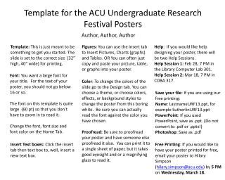 Template for the ACU Undergraduate Research Festival Posters