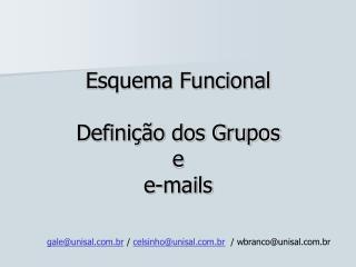 Esquema Funcional Definição dos Grupos e e-mails