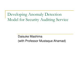 Developing Anomaly Detection Model for Security Auditing Service