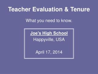 Teacher Evaluation & Tenure
