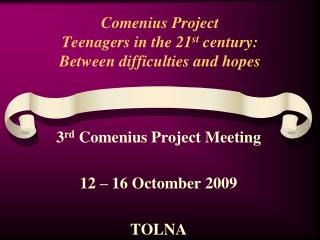 Comenius Project Teenagers in the 21 st  century: Between difficulties and hopes