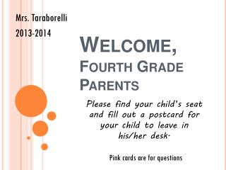 Welcome, Fourth Grade Parents