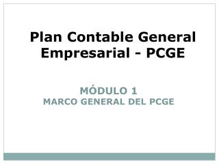 Plan Contable General Empresarial - PCGE