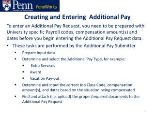 Creating and Entering  Additional Pay