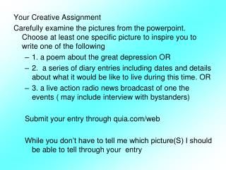 Your Creative Assignment