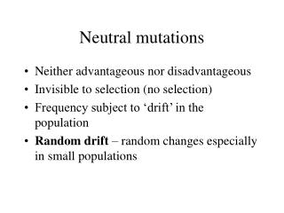 Neutral mutations