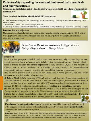 Patient-safety regarding the concomittant use of naturoceuticals and pharmaceuticals