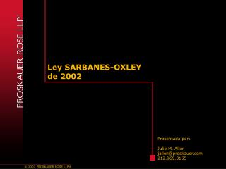Ley SARBANES-OXLEY  de 2002