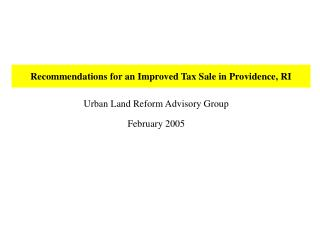 Recommendations for an Improved Tax Sale in Providence, RI