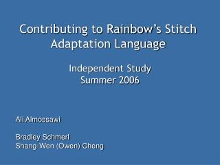 Contributing to Rainbow's Stitch Adaptation Language