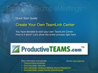Quick Start Guide:  Create Your Own TeamLink Center