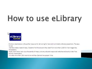 How to use  eLibrary