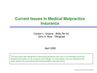 Current Issues In Medical Malpractice Insurance
