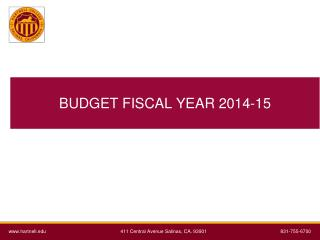 BUDGET FISCAL YEAR 2014-15