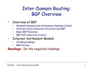 Inter-Domain Routing:  BGP Overview