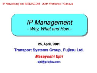 IP Management - Why, What and How -