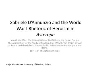 Gabriele D'Annunzio and the World War I Rhetoric of Heroism in  Asterope