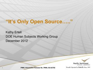 """It's Only Open Source….."""