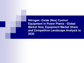 nitrogen -oxide (nox) control equipment in power plants